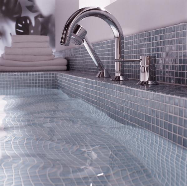 salle de bain, douche à l'italienne en mortex, carrelages et